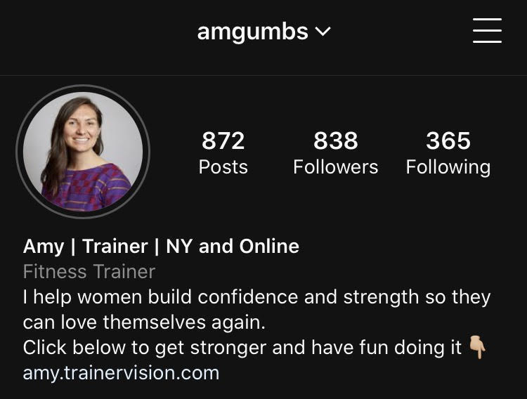 "Example Instagram screenshot. Name: ""Amy / Trainer / NY and Online"", Bio: ""I help women build confidence and strength so they can love themselves again. Click below to get stronger and have fun doing it👇🏼"""